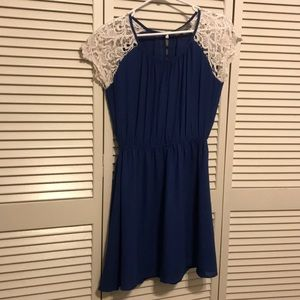 Blue dress with lace sleeves